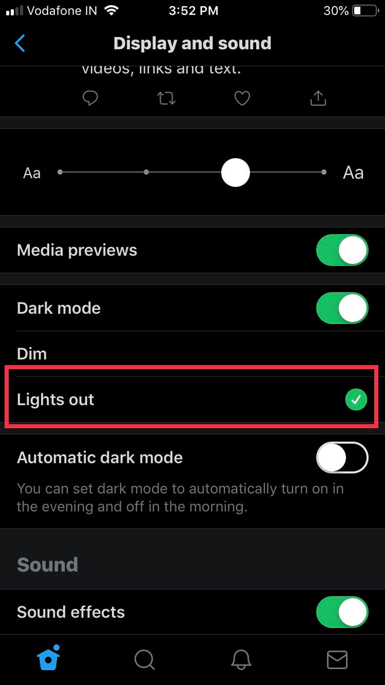 tap on lights option to activate twitter dark mode on iPhone iPad