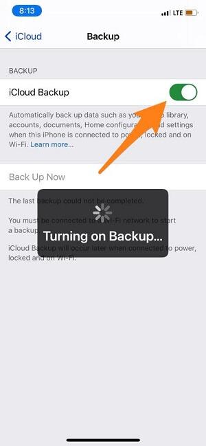 Enable iCloud backup on iPhone