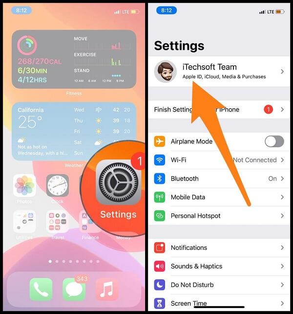 Profile name on iPhone settings