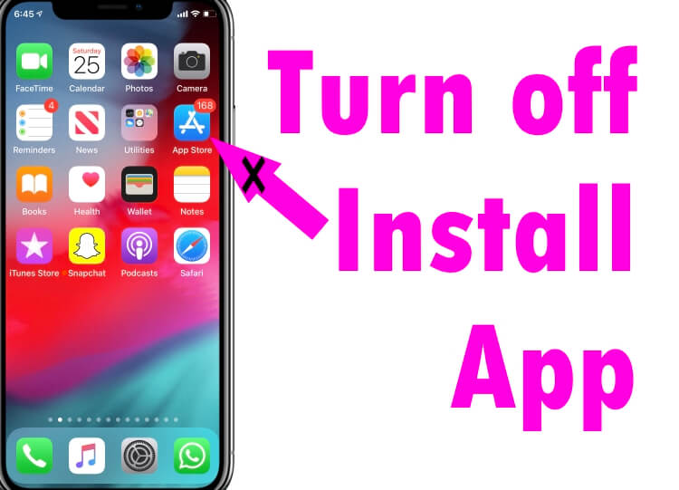 Turn off install app on iPhone