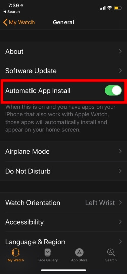 Automatic app install to Apple watch enable auto update apple watch app