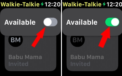 Enable Walkie Talkie for Apple Watch from Watch