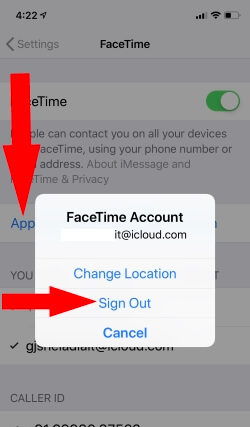 Sign out FaceTime from iPhone and Sign In Again