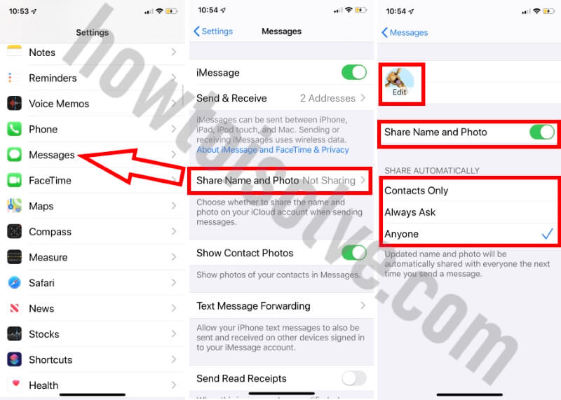 Change profile picture in iMessage iOS 13