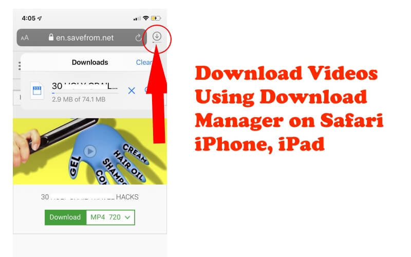 Download Videos using Download Manager on Safari iPhone iPad
