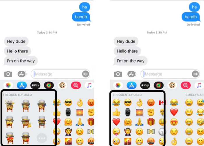 Hide Frequently used app from keyboard on iPhone and iPad