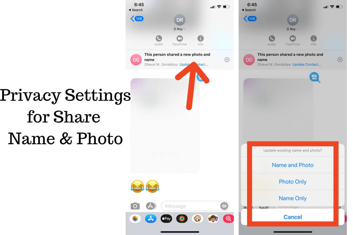 Privacy Settings for Share Name & Photo