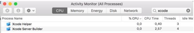 Завершение работы сервера XCode на Mac