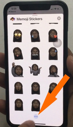 Tap on More option on Custom Memoji to Delete Duplicate and Edit