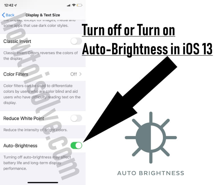 Turn on or Turn off Auto Brightness in iOS 13 on iPhone and iPad