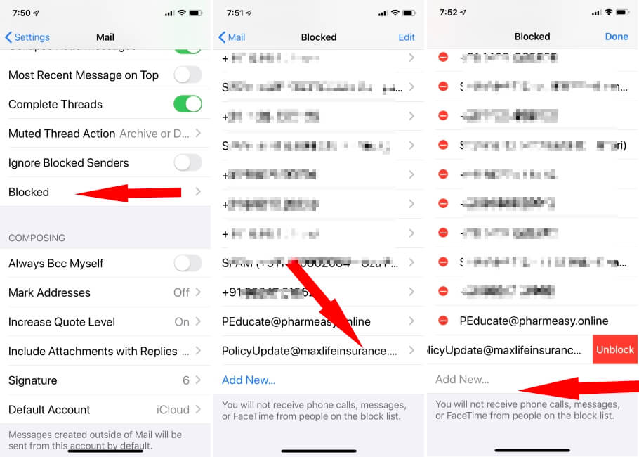 Unblock Mail contact from Spam mails list on iPhone and iPad