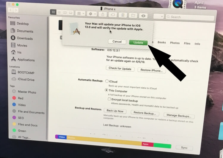 Update iOS to iPhone using Finder on MacOS