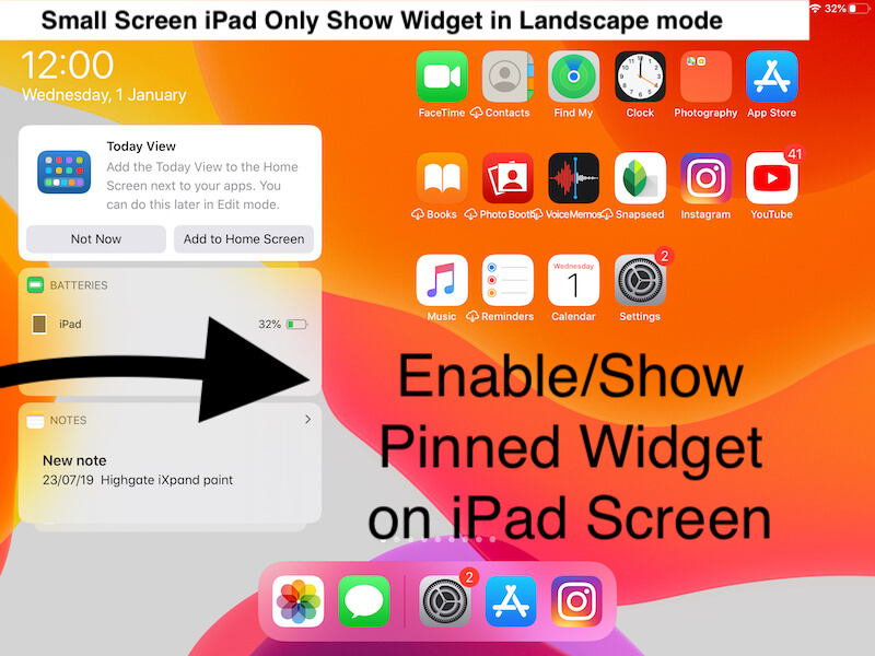 Enable Pinned Widget on iPad Home screen