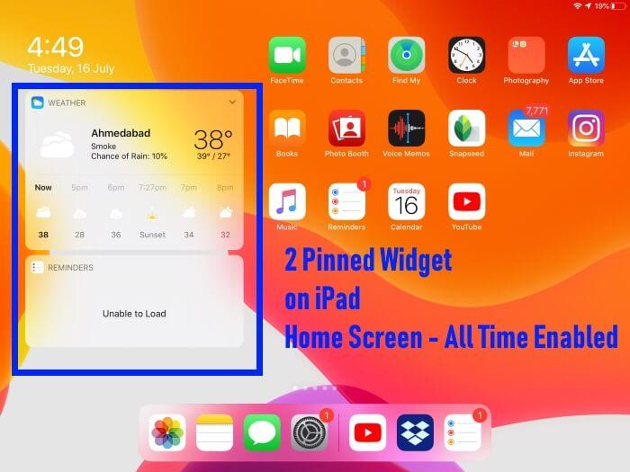 iPad Home Screen with Pinned Widget on iPadOS