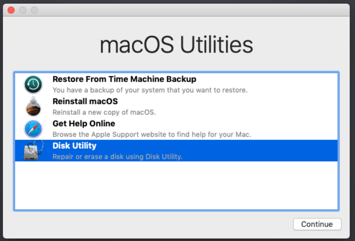Disk Utility on Mac to MacOS Catalina