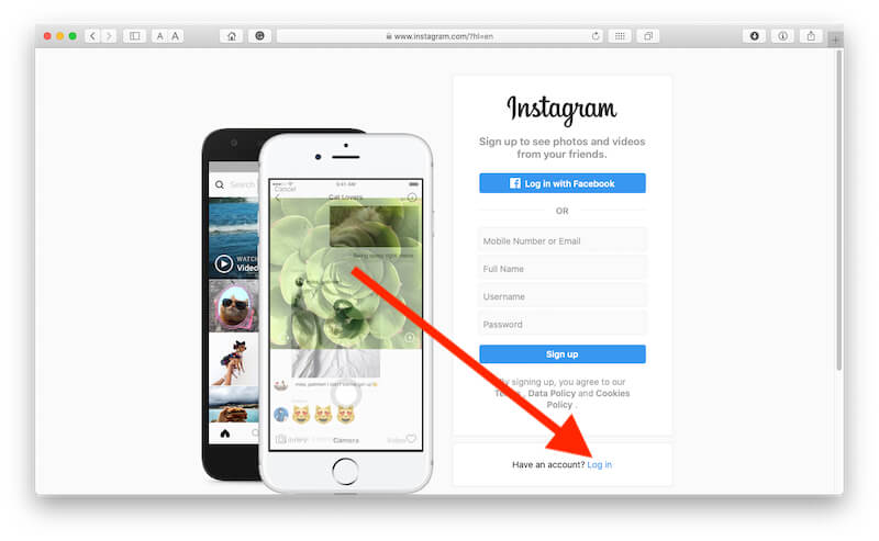 Login instagram on Mac