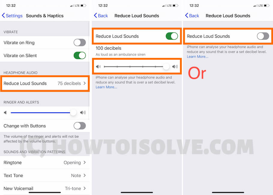 Reduce Loud Sound on iPhone Settings