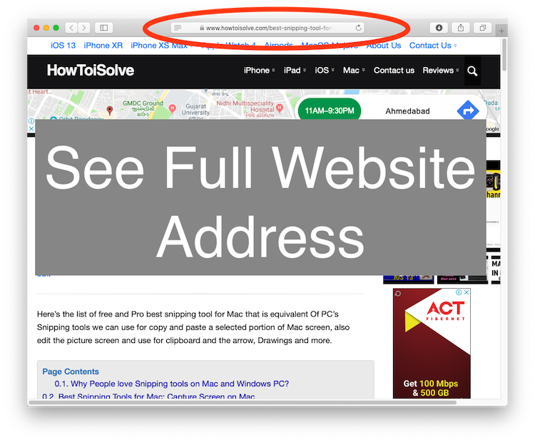See Full website Address in Safari URL Address Bar on Mac