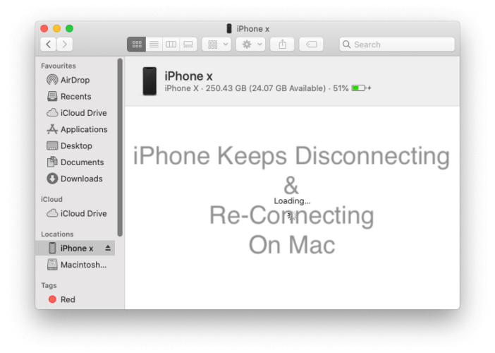 iPhone Connecting and Disconnecting on Mac