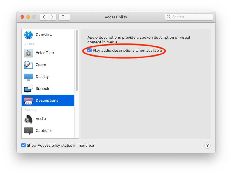Play Audio when Description is Available on Mac