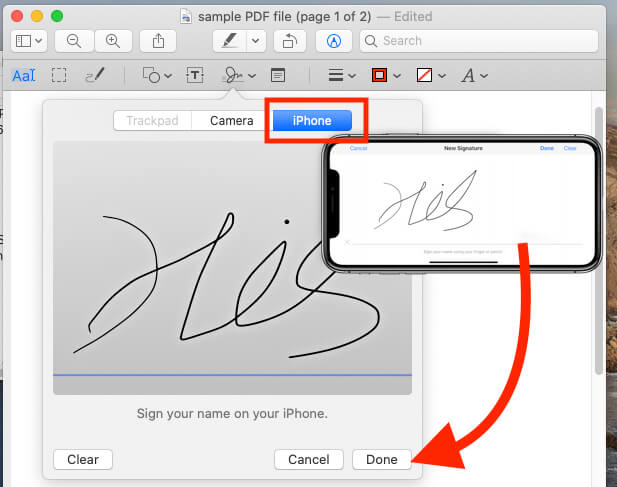 Add Signature on Preview mac using iPhone or iPad