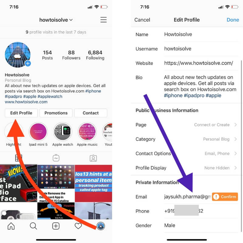 Change Email on Instagram iPhone & iPad