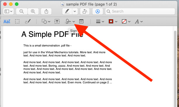 Click on Signature tool for add signature on PDF Preview on Mac