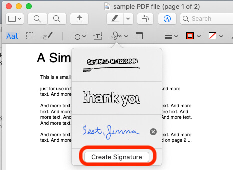 Create a Signature on Mac Preview on PDF or Picture file