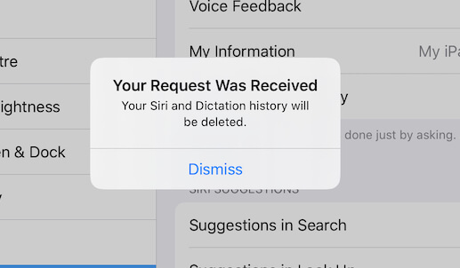 Delete Siri and Dictation Recording from Apple's Server
