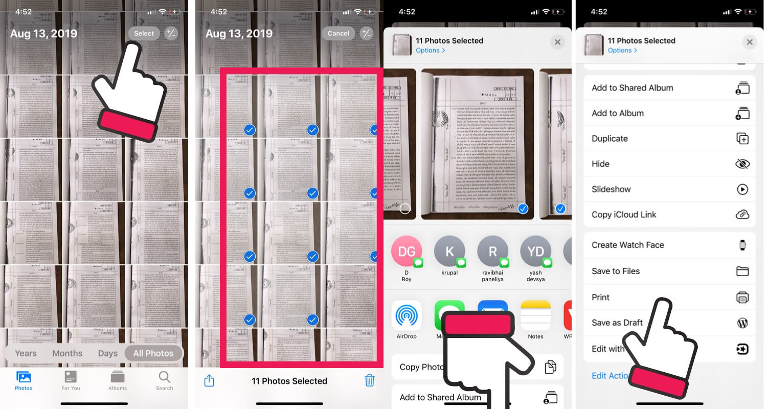 Select Image from photos app for Print to PDF file