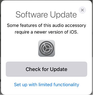 Software Update Error on pair Airpods Pro with iPad