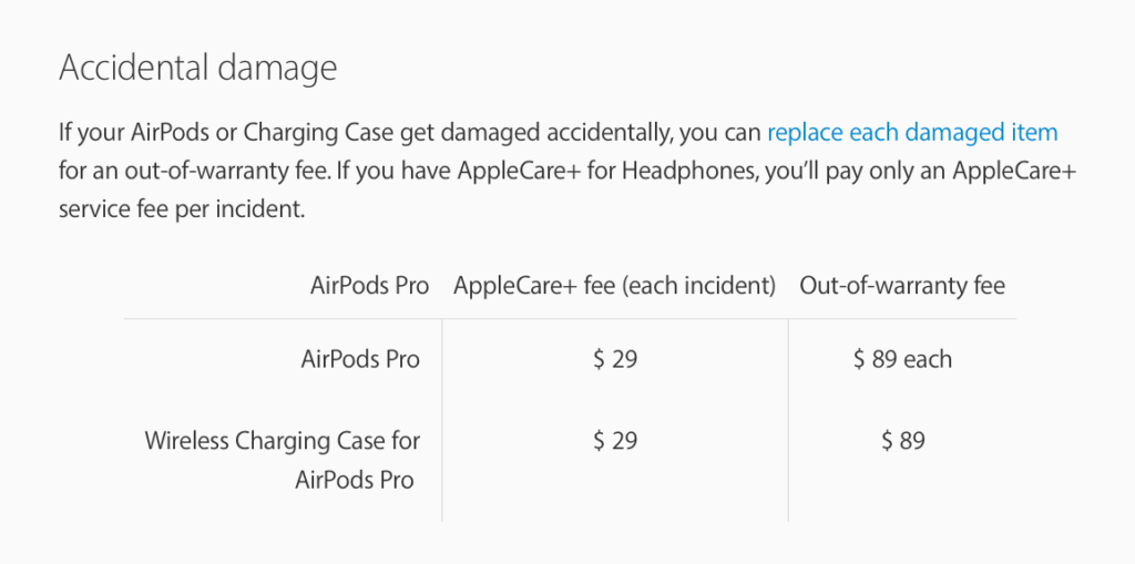 AirPods pro replacement price