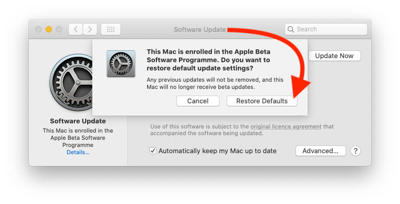 Go with the Restore Defaults on Mac