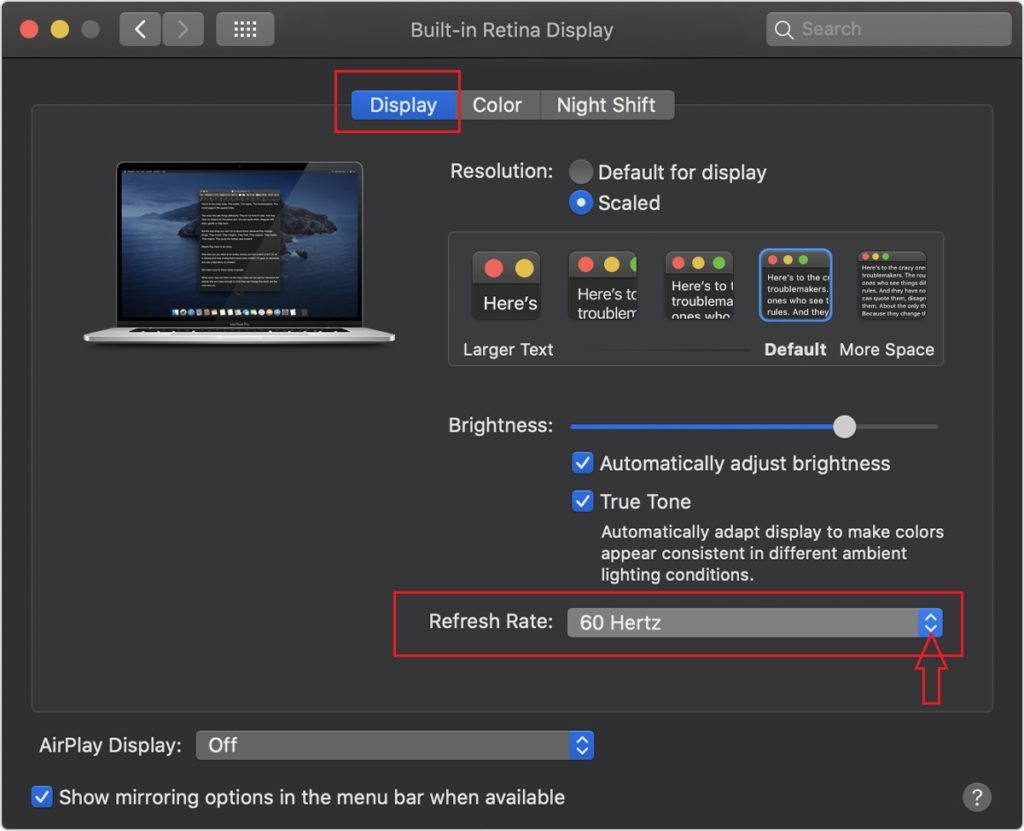 Heres Apple macos catalina 10.15 system prefrences displays pro display xdr refresh rate for macbook pro 16inch