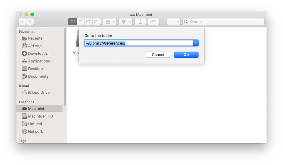 Перейдите в папку настроек на Mac
