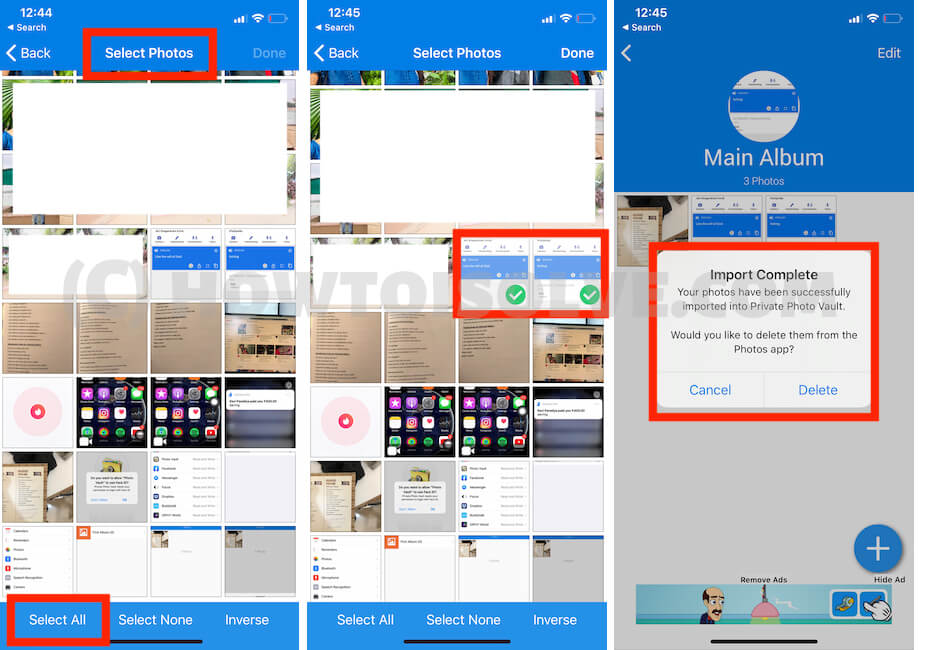 Select Photo to Photo Vault on iPhone app