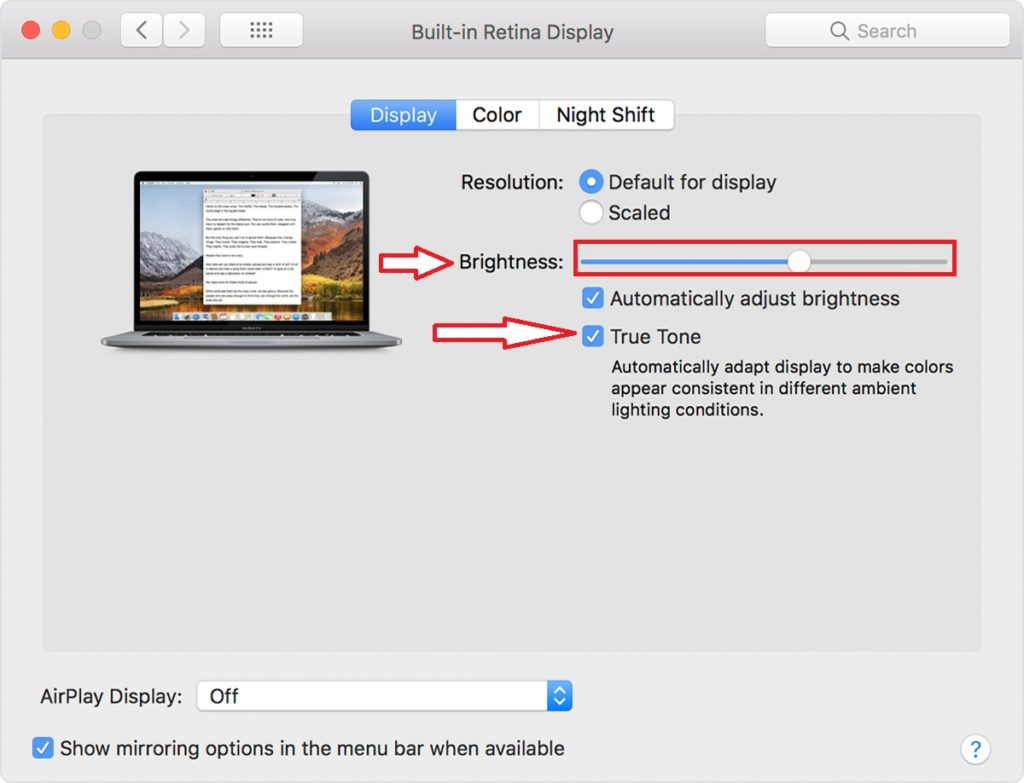 Set or adjust true tone mode and brightness level on Apple Pro Display XDR