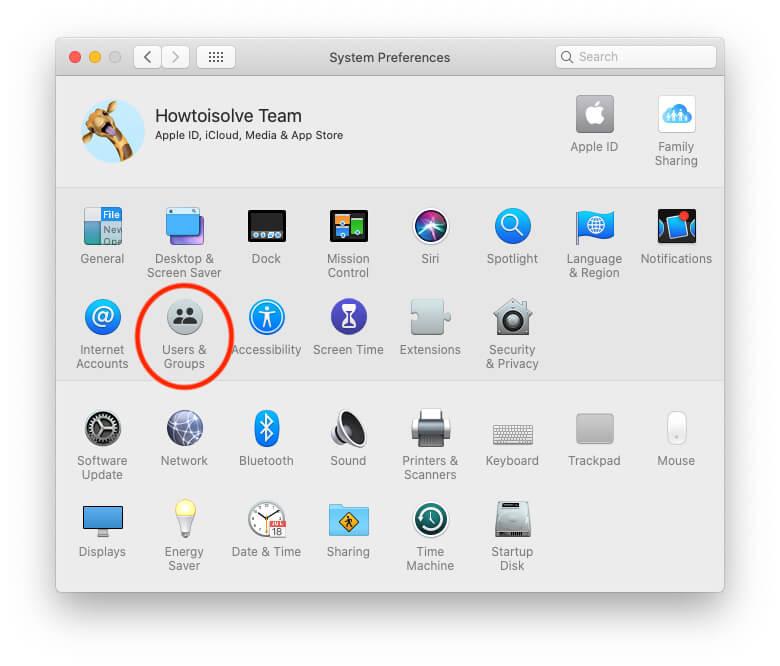 Параметр пользователя и группы в системных настройках на Mac