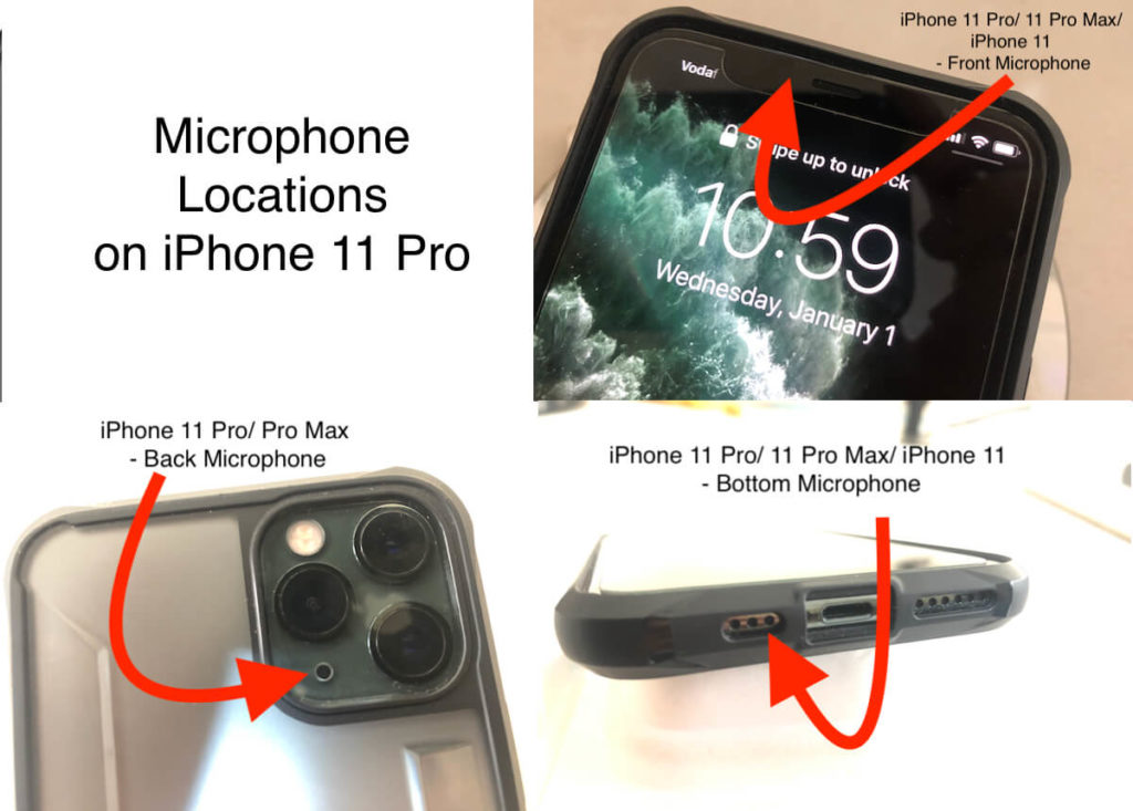 Where is iPhone 11 Pro Microphone locations