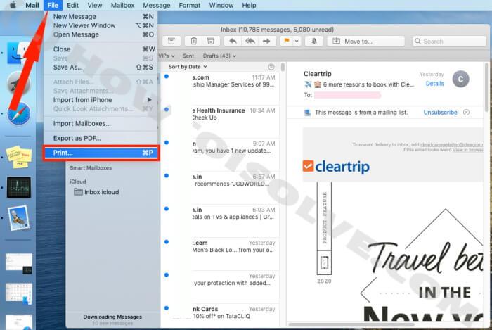 Нажмите Файл - конвертировать почту в PDF.