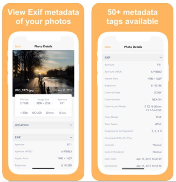 EXIF Metadata App for iPhone