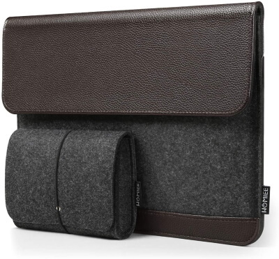 HOMIEE Leather sleeve Case with Accessory Pouch for MacBook Pro 2019