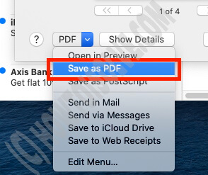 Select Save as PDF on Mail Mac