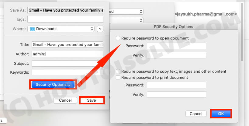 Set Security on PDF Gmail