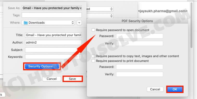 Установить безопасность в PDF Gmail