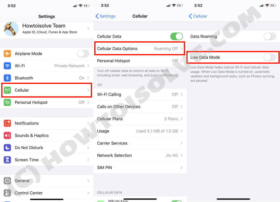 Turn Off Low Data Mode on iPhone