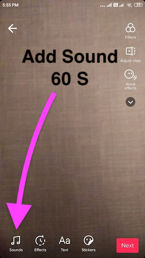 Add Sound and Effect after record 60 seconds video clip on Tiktok android mobile app