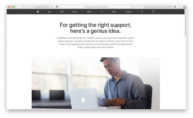Apple Support Genious bar appointment from Desktop or Mac PC