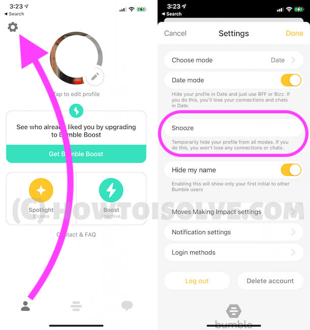 Bumble Profile settings on Mobile App (1)