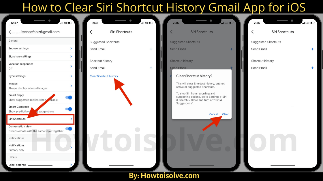 How to Clear Shortcut History Gmail App for iOS